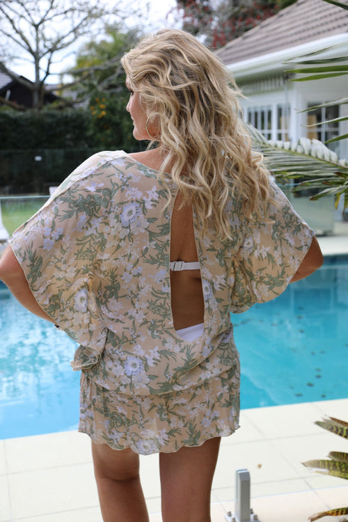 Beach Baby Kaftan - Beige, Sage Green and Baby Blue Floral