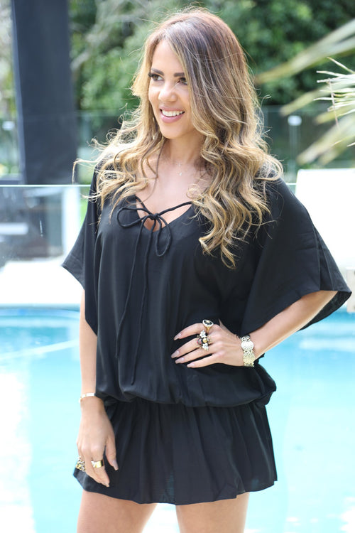 Beach Baby Kaftan - Black