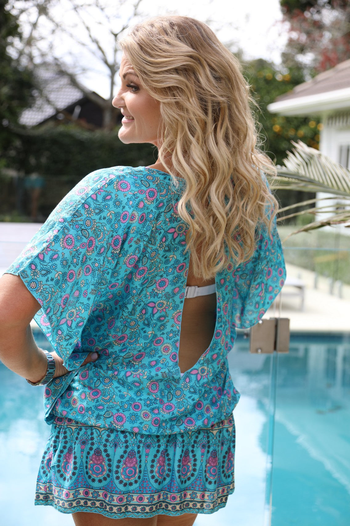 Beach Baby Kaftan - Turquoise Floral