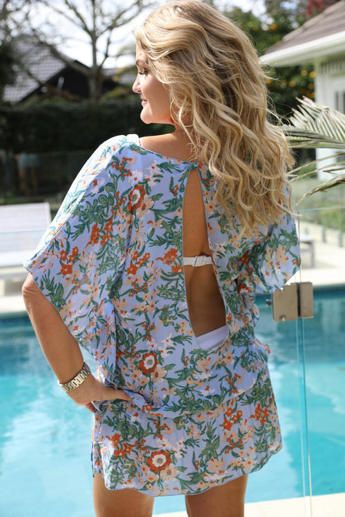 Beach Baby Kaftan - Soft Blue Floral