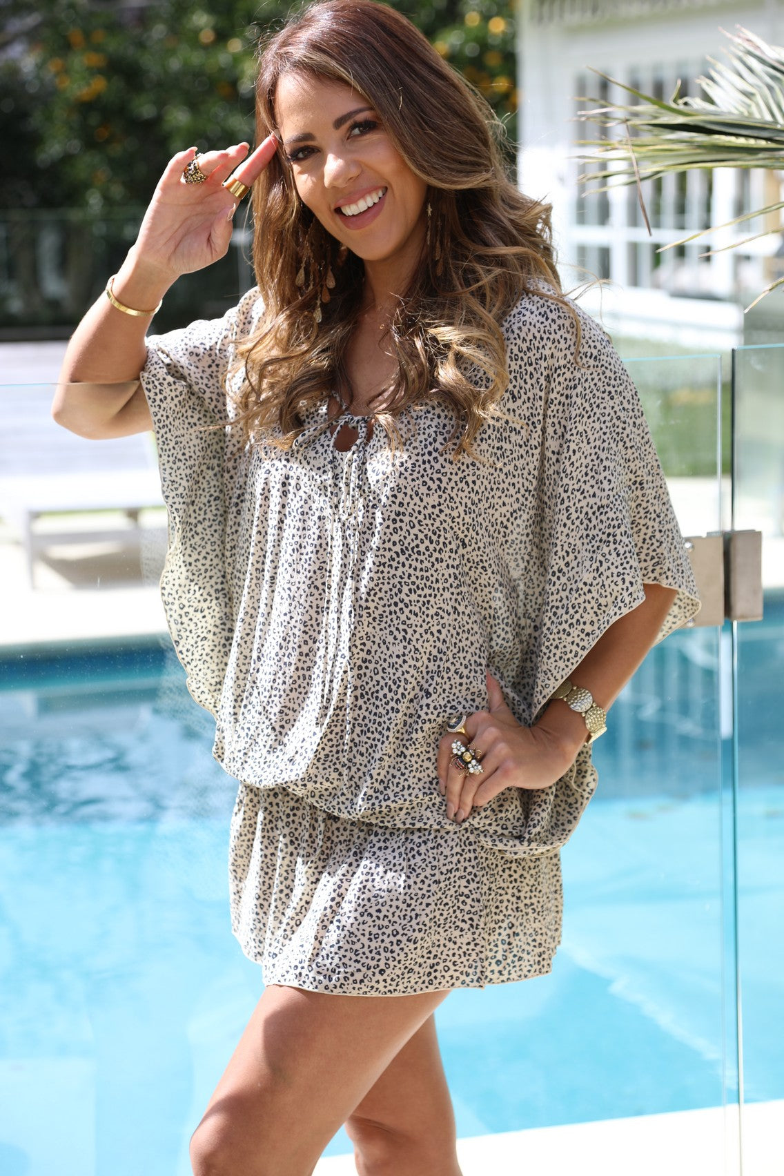 Beach Baby Kaftan - Small Leopard Print Cream & Black