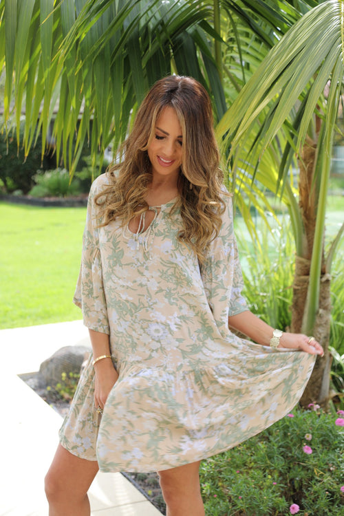 Beach Chic Dress -  Beige, Sage Green & Soft Blue Floral