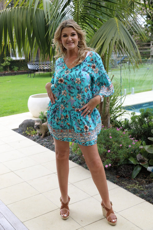 Beach Chic Dress -  Large Turquoise Floral