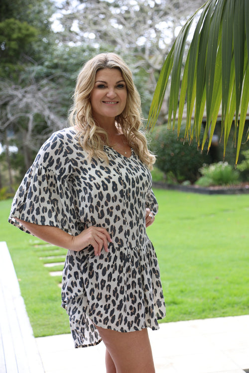Beach Chic Dress -  Large Leopard Print