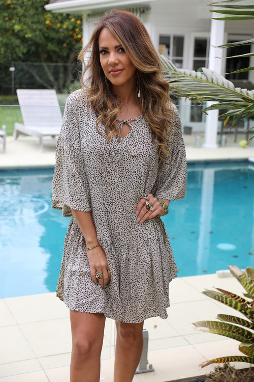 Beach Chic Dress -  Small Leopard Print