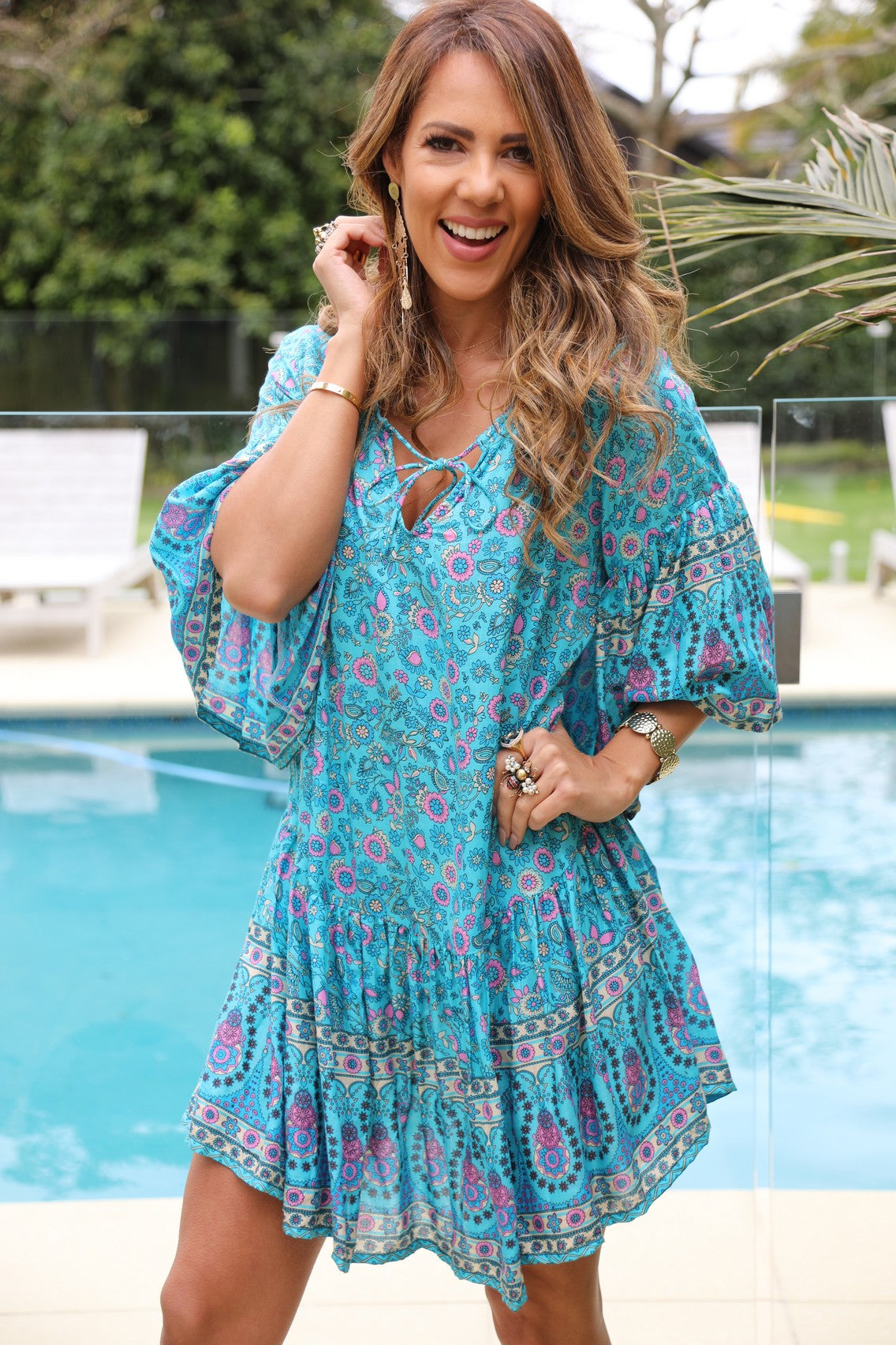 Beach Chic Dress -  Small Turquoise Floral Print
