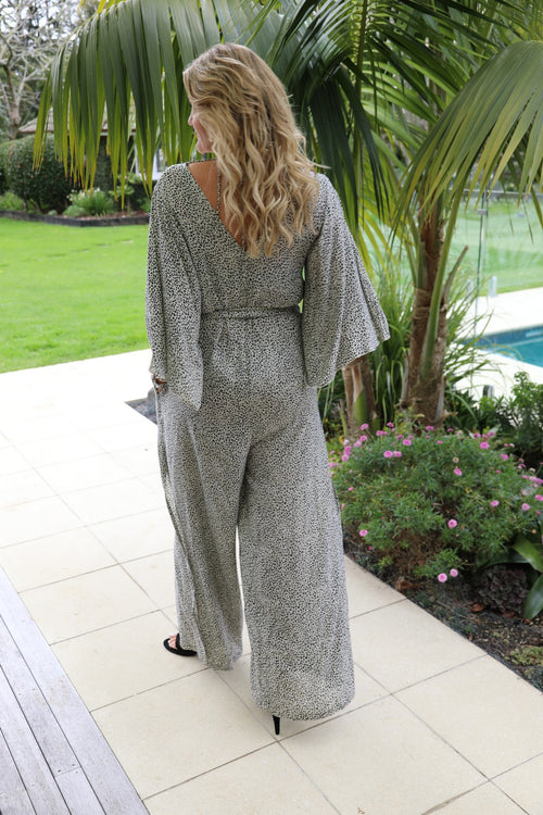 Jumpsuit Elegance - Small Cream Leopard Print