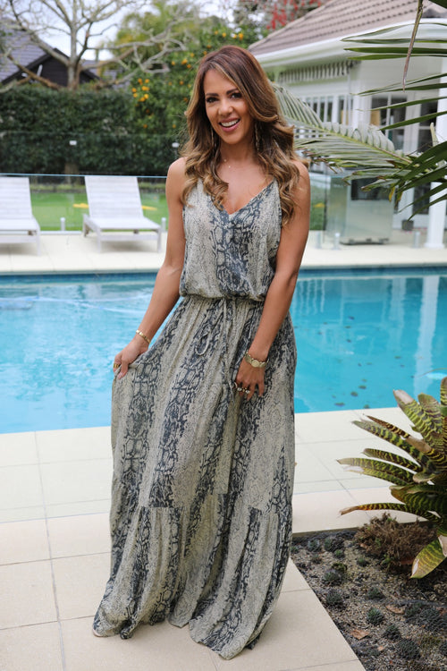 Shoestring Sandy Maxi Dress - Cream & Grey Snake Print