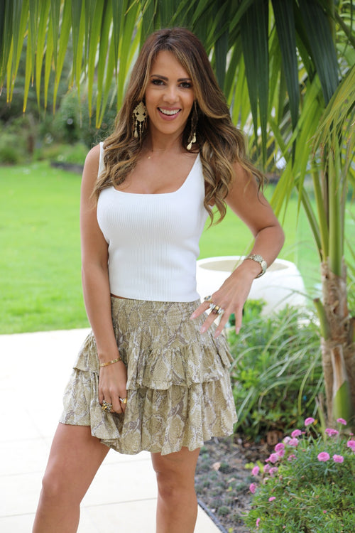 Little Frill Skirt - Beige & Tan Snake Print