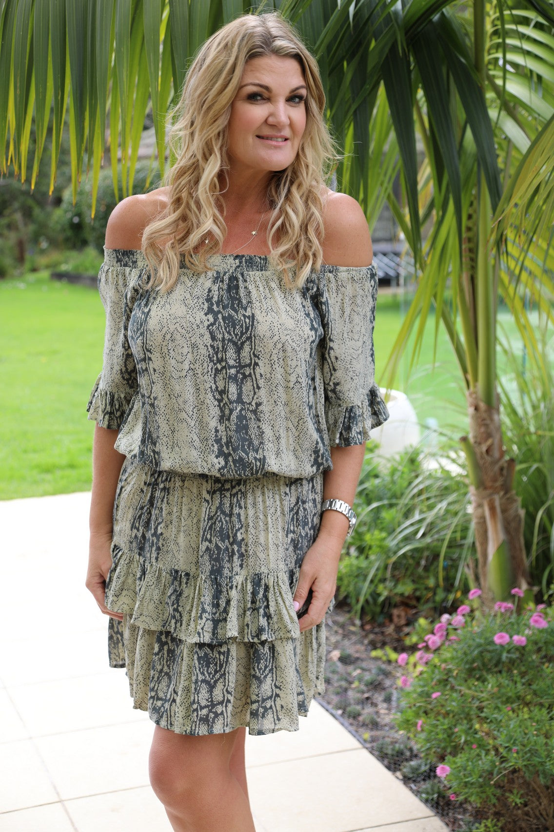 Little Frill Dress - Beige & Grey Snake Print