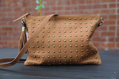 Boho Stud Bag - Tan Leather