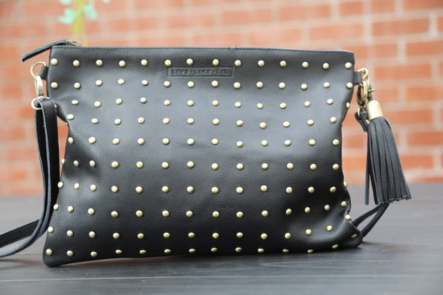Boho Stud Bag - Black Leather