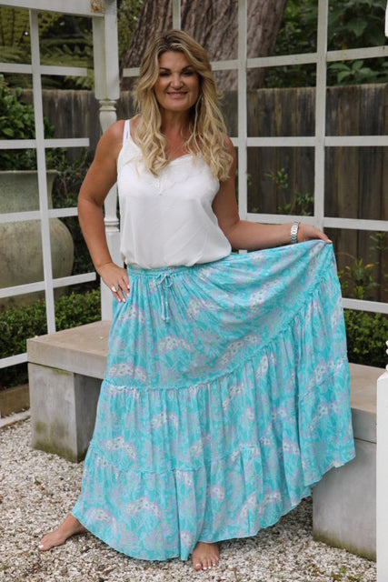 Lovely Long Frill Skirt - Turquoise Floral