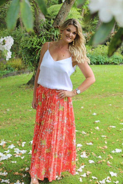 Lovely Long Frill Skirt - Orange bright Floral
