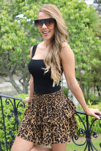 Little Frill Skirt - Dark Leopard Print