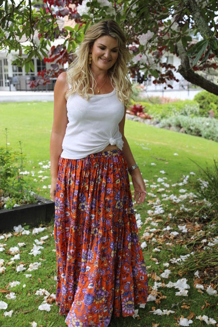 Lovely Long Frill Skirt - Darker Orange Floral