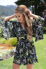 Sun City Jumpsuit - Black Floral