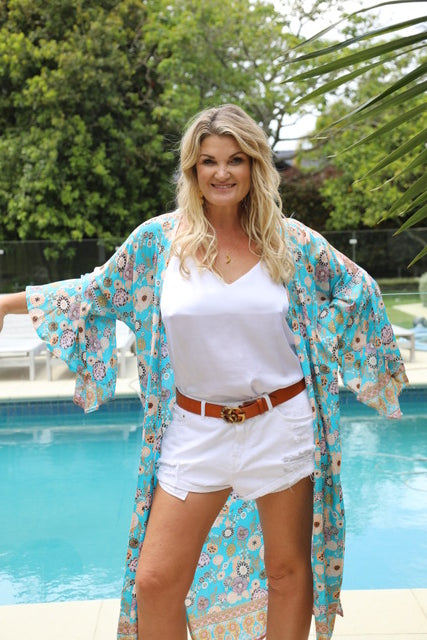 Wing Woman Kimono - Turquoise Blue Floral