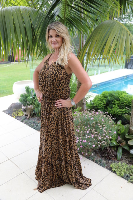 Shoestring Sandy Maxi Dress - Dark Leopard Print