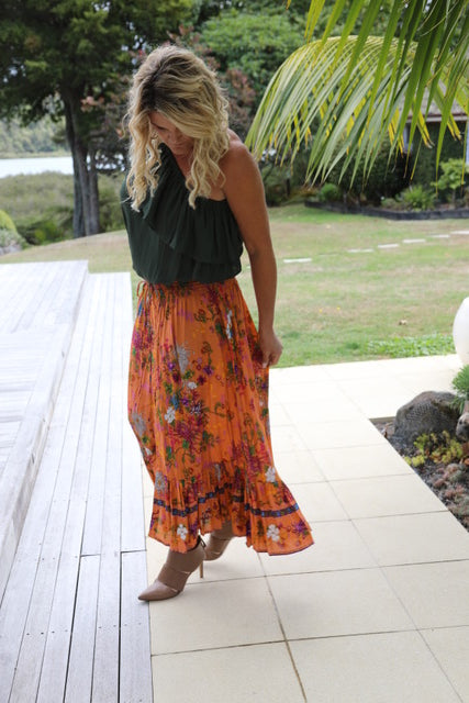 Float my Boat Skirt - Orange Autumn Floral