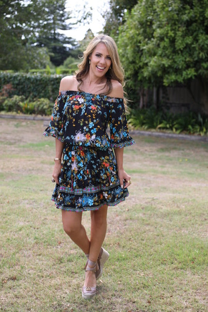 Little Frill Dress - Beautiful Black Floral