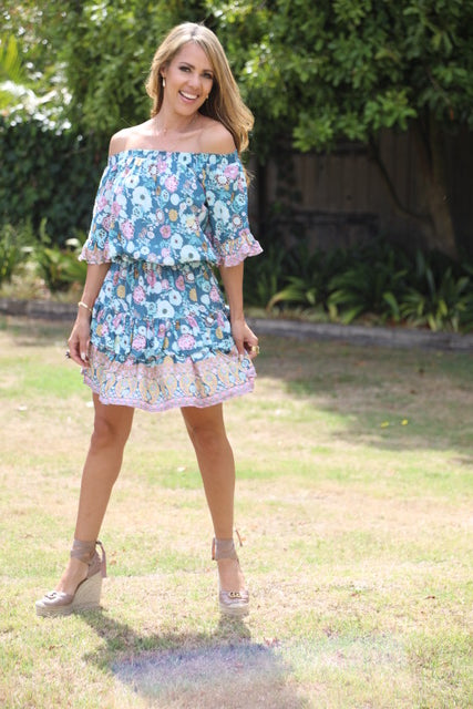 Little Frill Dress - Dusky Blue Floral
