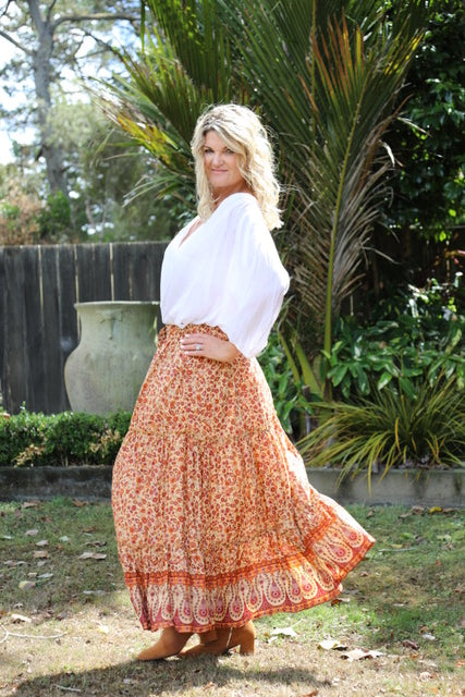 Lovely Long Frill Skirt - Boho Autumn Oranges & Browns