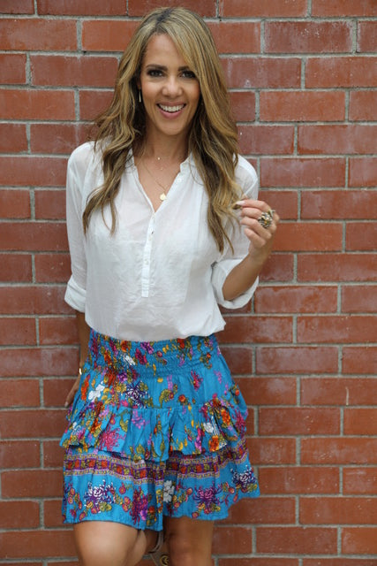 Little Frill Skirt - Blue, Pink, Orange & Purple Floral