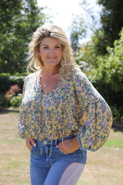 Bella Top - Lovely Lemon, Purple & Blue Floral