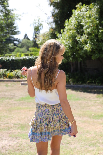 Little Frill Skirt - Lovely Lemon, Purple & Blue Floral