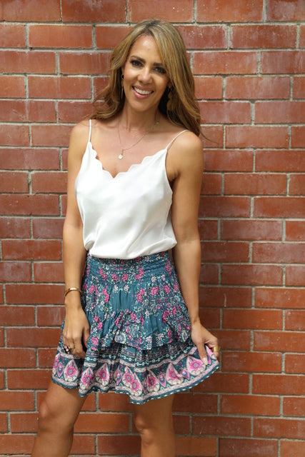 Little Frill Skirt - Grey & Pink Floral