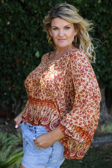 Bella Top - Boho Autumn Oranges & Browns