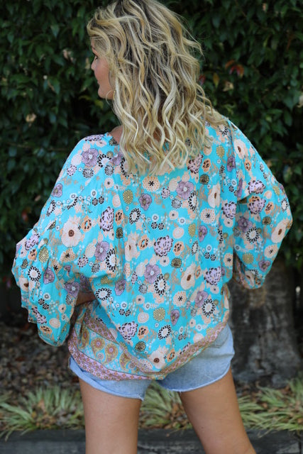 Bella Top - Turquoise & Orange Floral