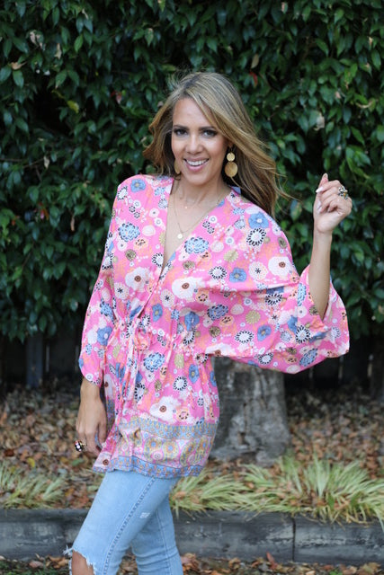Cleo Top - Prettiest Pink Floral