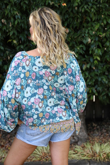 Bella Top - Dusky Blue Floral