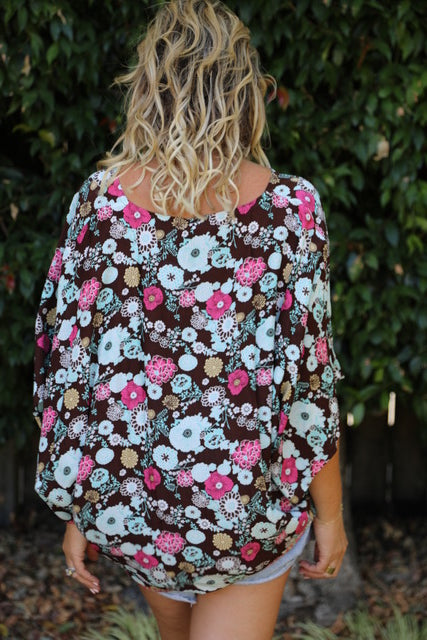 Over it Top/Dress - Brown, Blue & Pink Floral