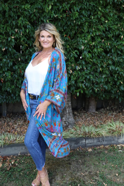 Delilah Kimono - Blue, Orange & Purple Floral
