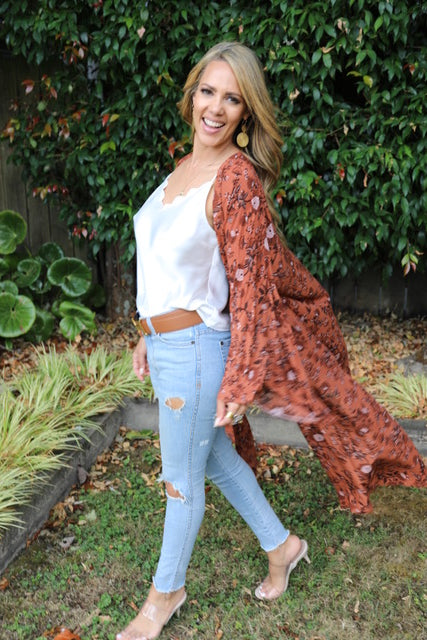 Wing Woman Kimono - Boho Autumn Oranges & Browns