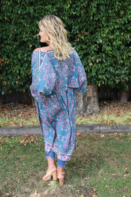 Cleo Kimono - (Bluey) Grey and Pink Floral