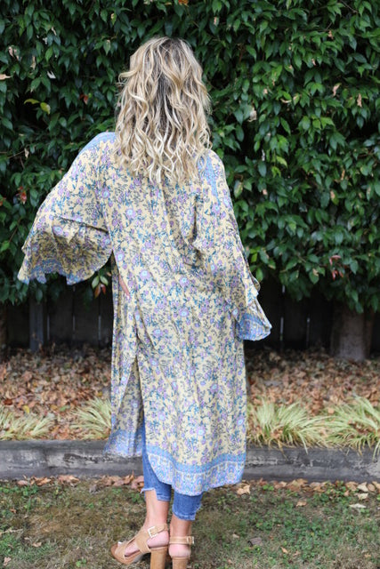 Wing Woman Kimono - Lovely Lemon, Purple & Blue Floral