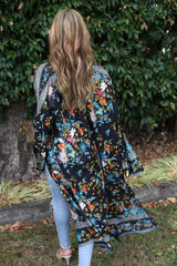 Wing Woman Kimono - Beautiful Black Floral