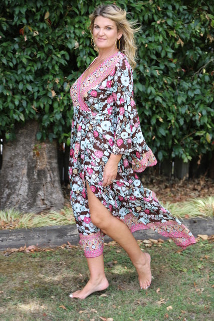 Wing Woman  Maxi Dress - Brown, Dusky Blue & Pink Floral