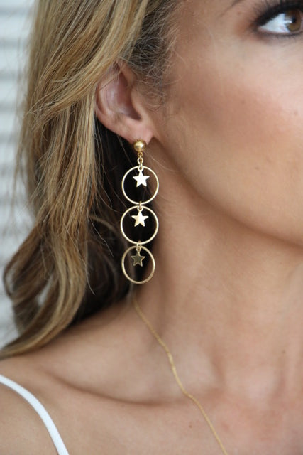 Bright Star Earrings - Gold (Sterling Silver 925 with 24 Karat Gold Plating)