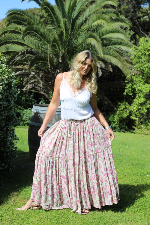 Glam Bohemian Skirt - Pink & White Floral