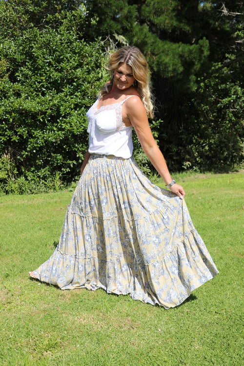 Glam Bohemian Skirt - Taupe & Navy