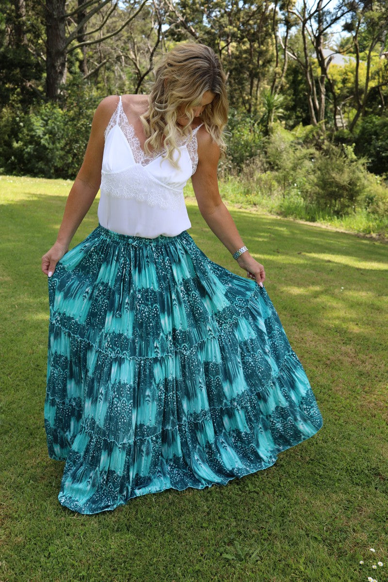 Glam Bohemian Skirt - Stunning Green Feather