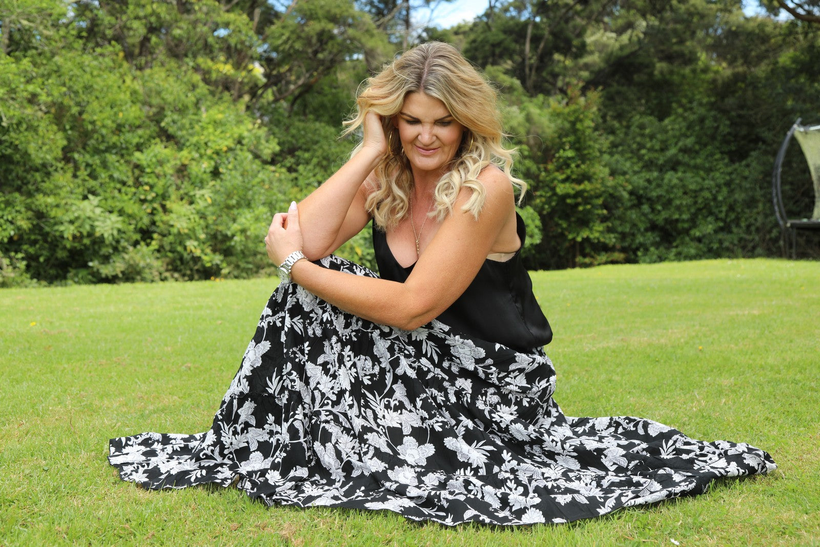 Glam Bohemian Skirt - Black & White Floral