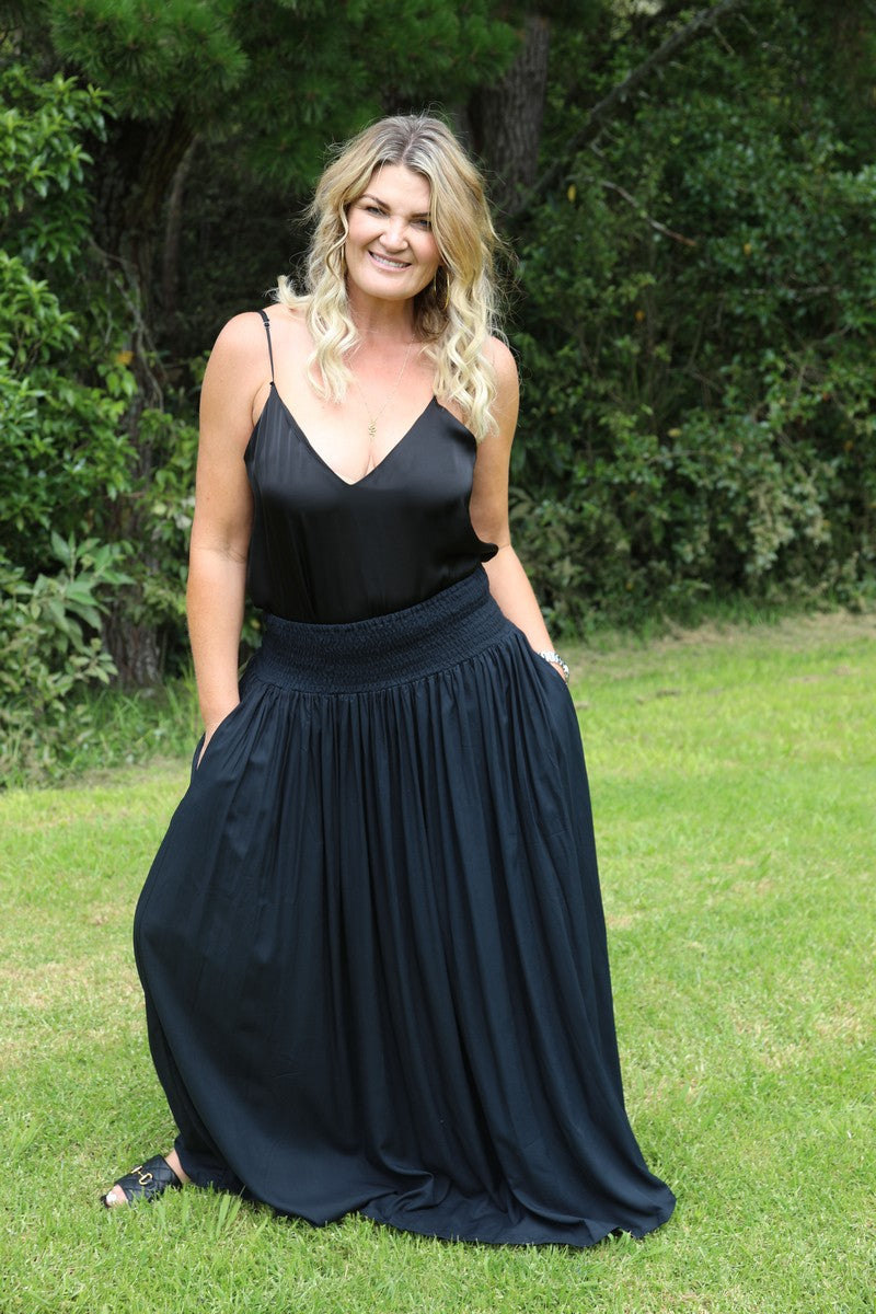 Gather Maxi Skirt - Black