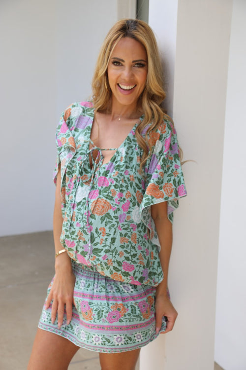 Beach Baby Kaftan - Gorgeous Green Floral