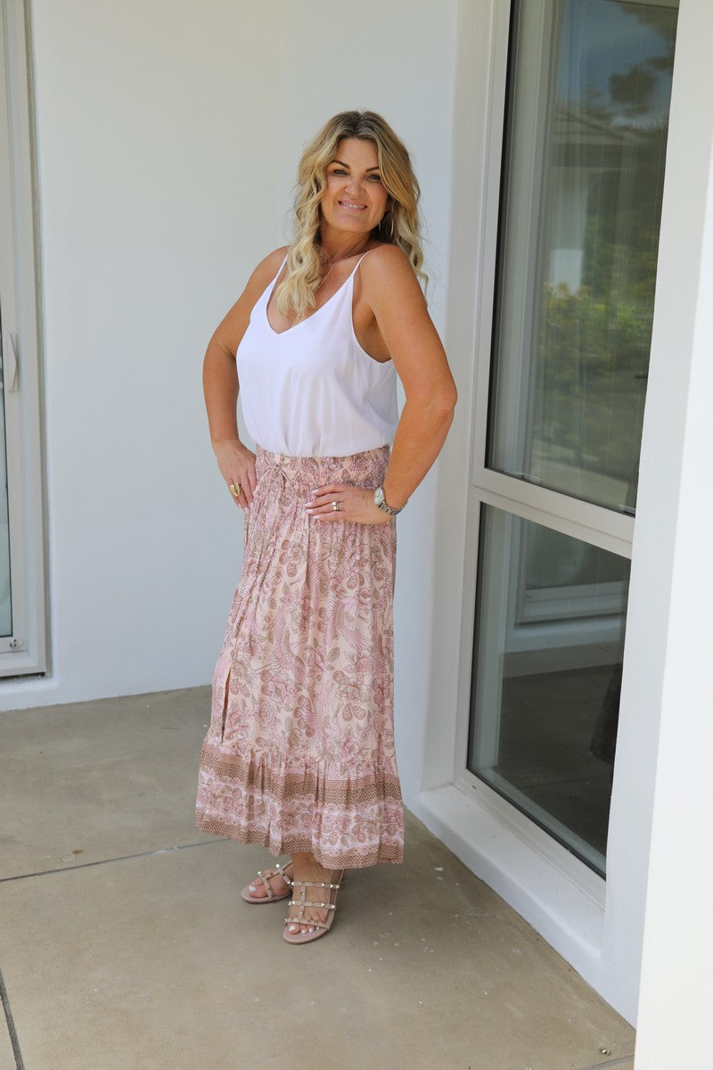 Float my Boat Skirt - Pale Pink Stork